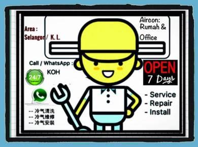 Service Repair Pasang Aircond Servis Baiki Aircon