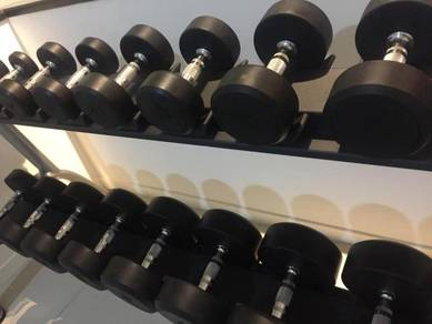 10 Pairs Round Rubber Dumbbell Set with Rack