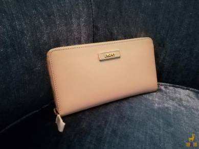 DKNY Saffiano Leather Zip Around Wallet