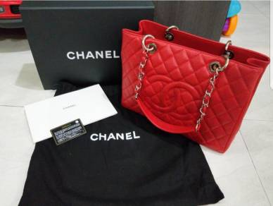 Chanel GST Red Caviar with Silver Hardware