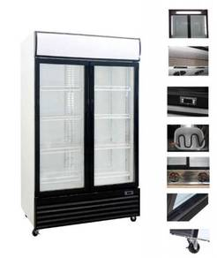 2 door display chiller with heated glass