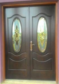 Pintu Cermin Kayu Solid Kembar Dua+ SIRIM Lock Set