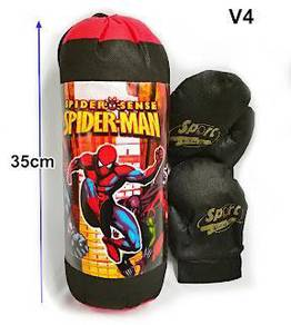 Toy boxing punching bag and gloves set spiderman