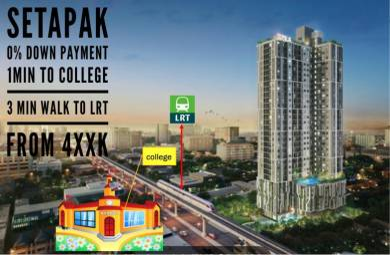 Setapak 0% Down Payment 3min walking distance to LRT & TARUC college