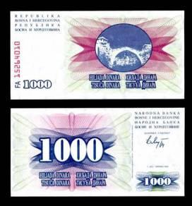 BOSNIA 1000 1,000 DINARA 1992 P 137 UNC
