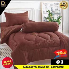 Cadar hotel single bujang 5 in 1 with comforter