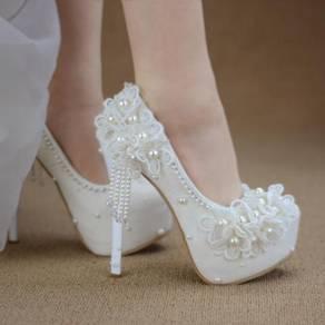 Bridal wedding white high heels shoe RBH0327