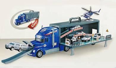 Toy police vehicle transporter truck set