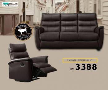 Cow Leather 3 Seater +1Recliner Sofa