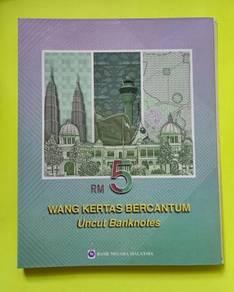 RM5 Uncut Sheet of 3 Banknote Siri ke-7 dan 10