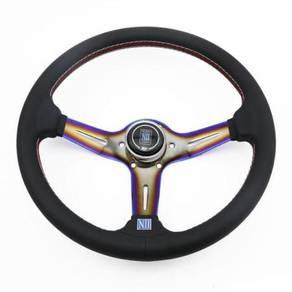 Nardi leather steering wheel with rainbow colour