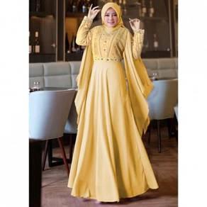 Annora Maxi long sleeve dress black yellow grey
