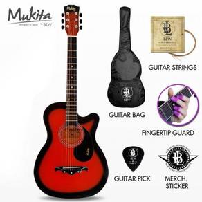 38INCH Mukita by BLW Guitar Acoustic Package - RED
