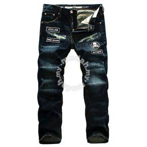 Patch embroidered skull jeans Slim casual pants