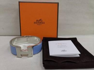 NEW - HERMES Clic Clac H PM Blue Wide Bracelet Ena