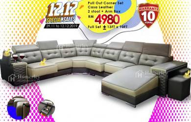 CASA LEATHER CORNER SOFA 6 Seater Multiple Choice