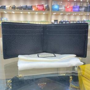 GUCCI Leather Bi-Fold Wallet with Web Black Men