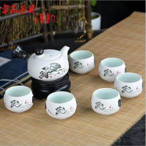 Ceramic Tea Pot Cups Gift Set with Gift Box