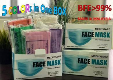SGS Tested 3Ply FACE MASK BFE 99% 50pcs in 5 Color