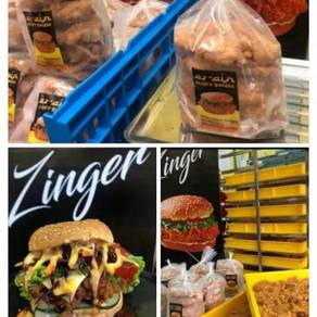 Dagimg ayam burger crispy zingger burgerr muslim