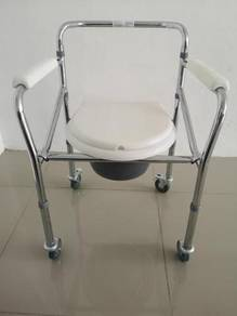 Folding commode chair with wheels shower chair