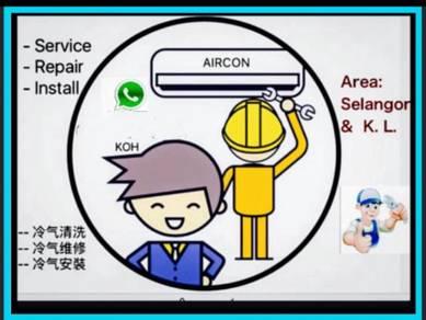 Service Aircond Install Repair Servis Aircon Baiki