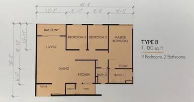 Tree Sparina Block B / 1130sf Facing Pool / Real unit & key by us