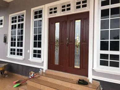Pintu Cermin Kayu Solid untuk Depan Rumah GM789L