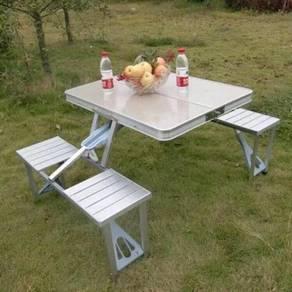 Aluminium Camping Picnic meja lipat 4 kerusi lekat