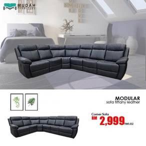 Tiffany leather corner set sofa