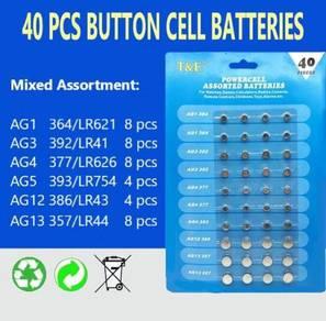 Assorted Alkaline Button Cell Batteries (40 pcs)