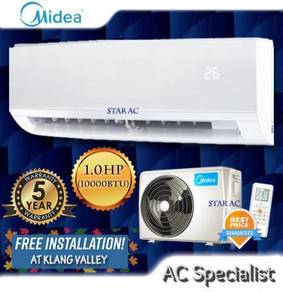Free Install - Midea Non Inverter Air Cond 1.0HP