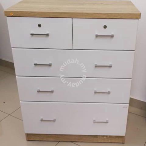 Almari Laci 5 Drawer White Furniture Decoration For Sale In