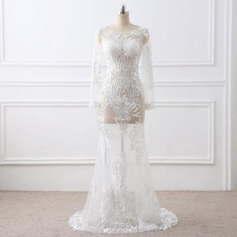 Transparent White Prom Dress