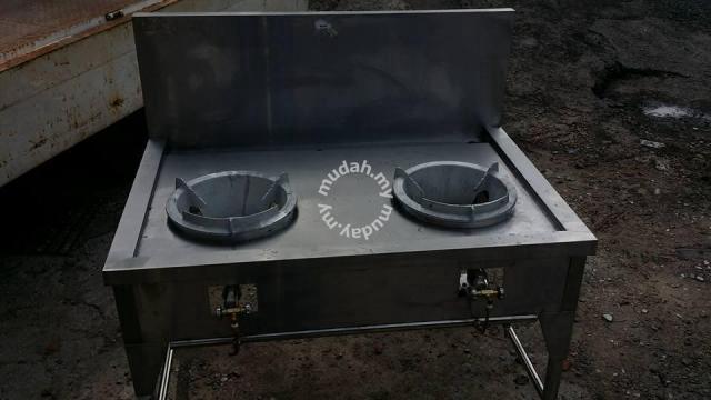 Dapur Masak 2 Lubang Burner Economy Type Professional Stainless Steel Work