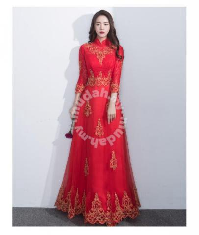 0b2d4dbd43 Muslimah red long sleeve wedding bridal prom dress - Clothes for ...