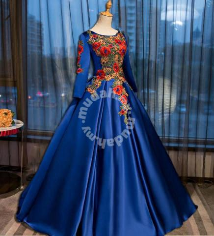 Muslimah red blue pink green wedding dress