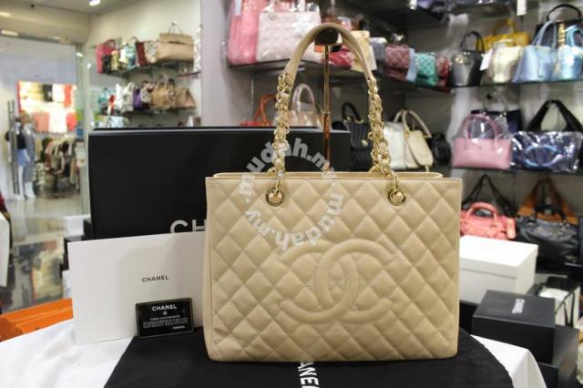 74c9c35daba4 Chanel Beige Caviar Grand Shopping Tote Bag GST GH - Bags ...