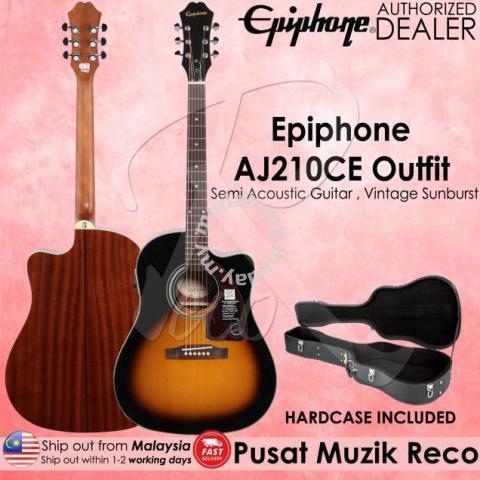 97da02e5e95 Epiphone AJ210CE Semi Acoustic Guitar + Hardcase V - Music ...