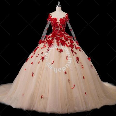 Red And White Wedding Dresses.Autumn Red Long Sleeve Wedding Dress Gown Rbmwd019 Wedding For Sale In Johor Bahru Johor