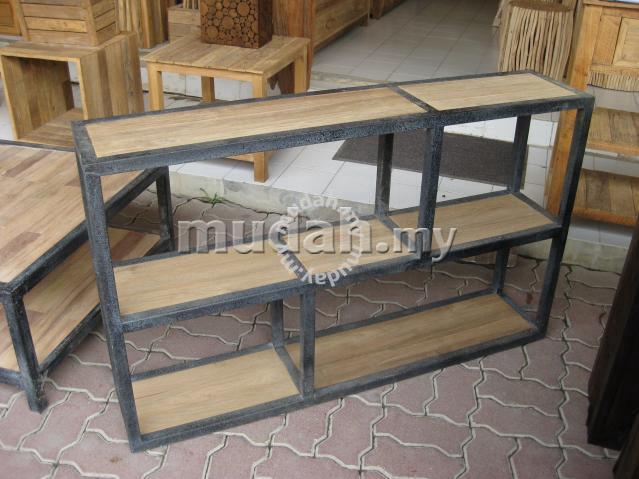 Aipj Teak Wood Shelf Divider With Steel Frame Furniture
