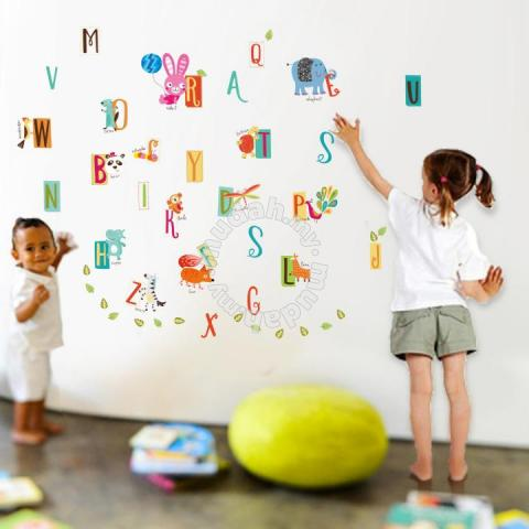 a-z kids learning alphabet pvc wall stickers - furniture