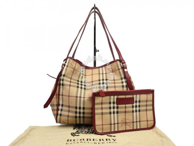 172aa83c8d0 Burberry Haymarket Check Red Leather Trim Tote Bag - Bags ...