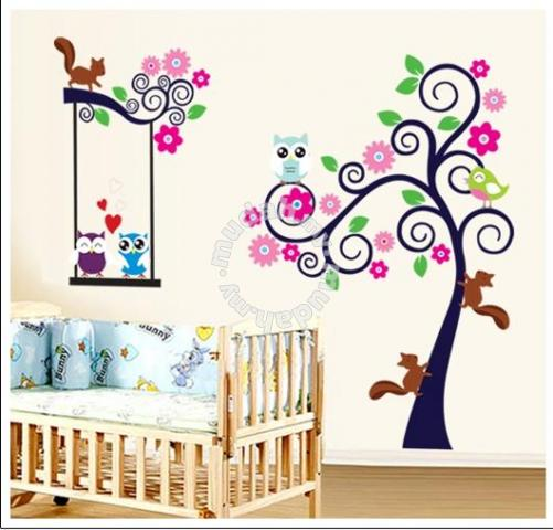 colorful lovely owl tree wall sticker - furniture & decoration for sale