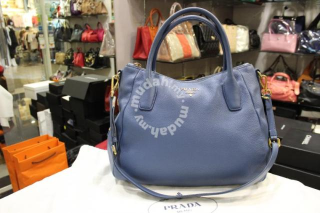 8932cfb48ab8 Prada Blue Vitello Daino Leather Shoulder Bag - Bags   Wallets for ...