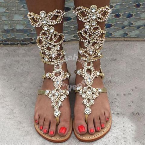 uk availability latest releases special discount of Silver gold diamond gladiator bohemian sandals - Shoes for sale in Johor  Bahru, Johor
