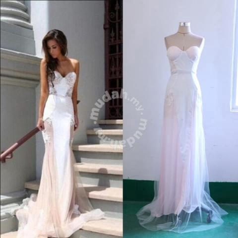 White tube lace prom wedding bridal dinner dress - Clothes for sale in ...