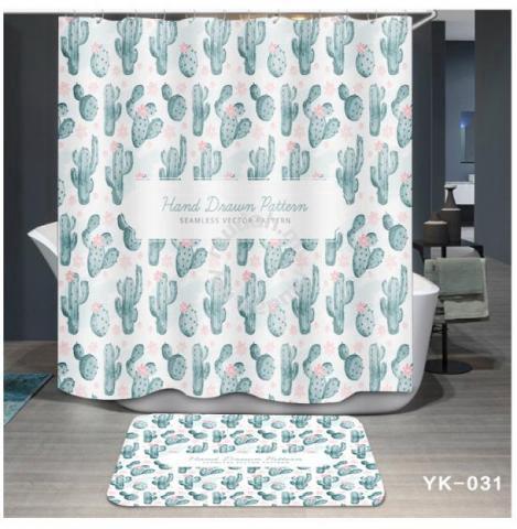 Waterproof Bathroom Cloth Shower Curtain With Hook