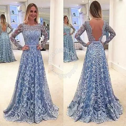 f287187ee Blue long sleeve lace prom wedding bridal dress - Clothes for sale in ...