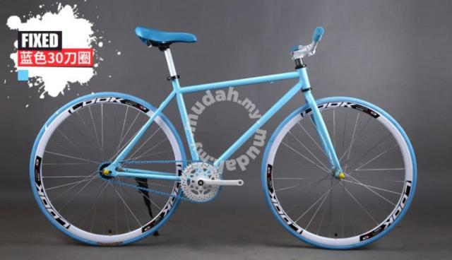 Basikal Fixie Fixed Gear Bicycle (Blue White)